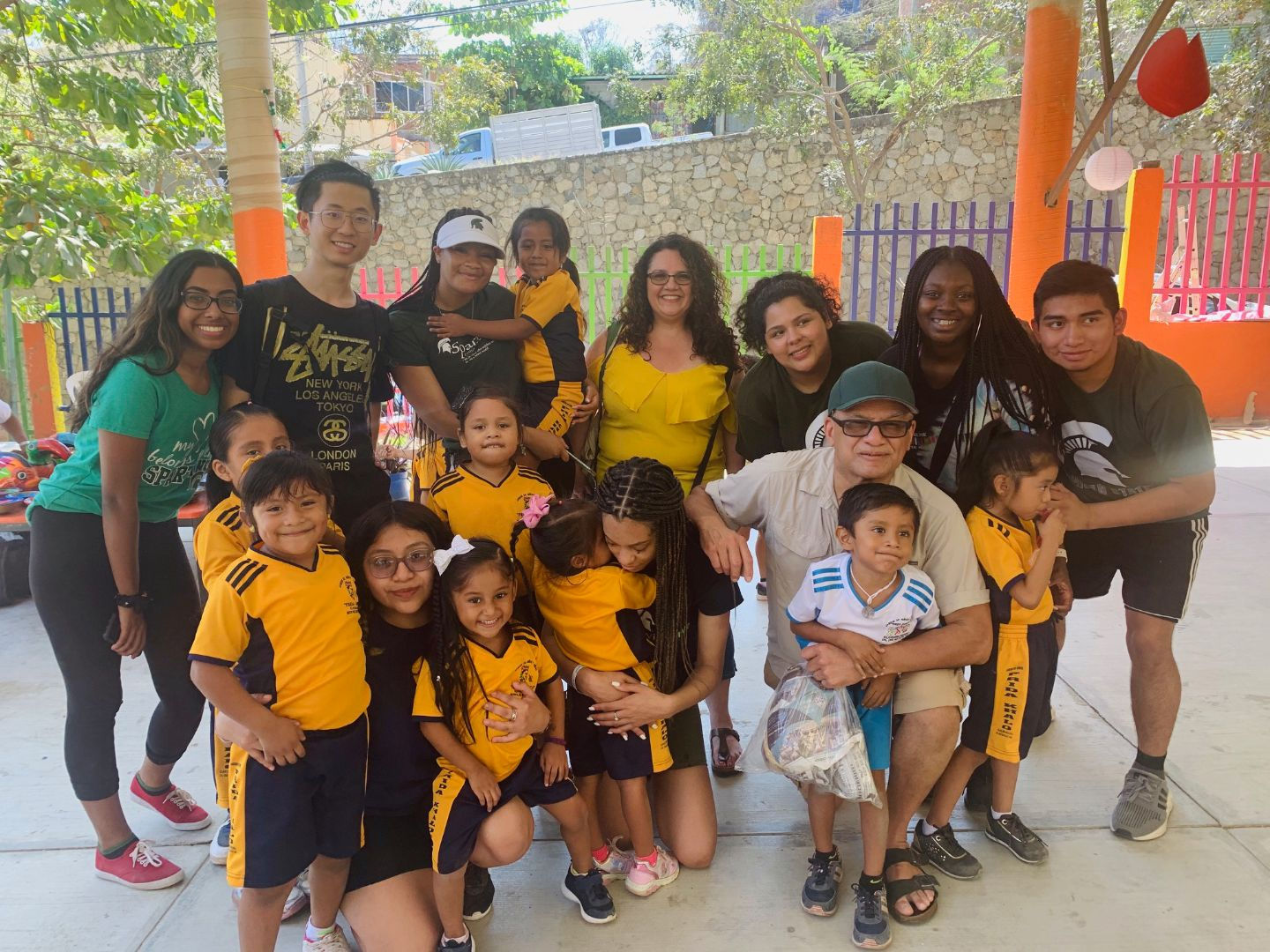 MSU students with local school children in Mexico