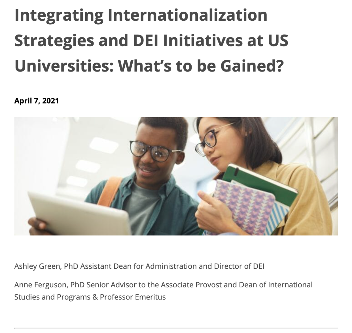 Photo: Two people look at a tablet together. Text: Integrating Internationalization Strategies and DEI Initiatives at US Universities: What's to be Gained? April 7, 2021