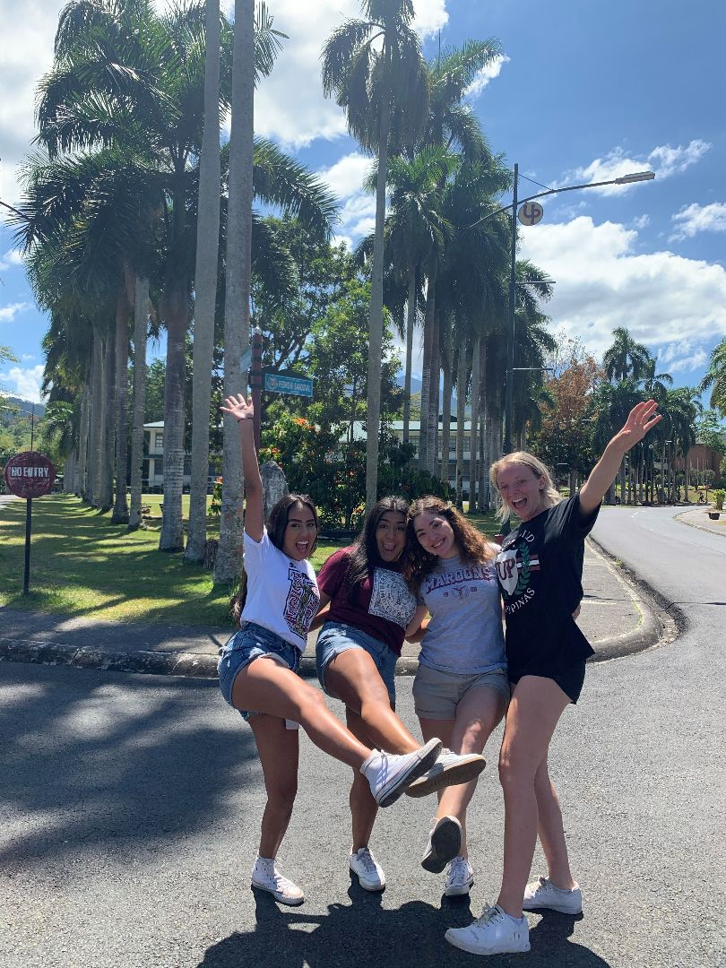 Group of students standing by palm trees on UPLB campus in the Philippines