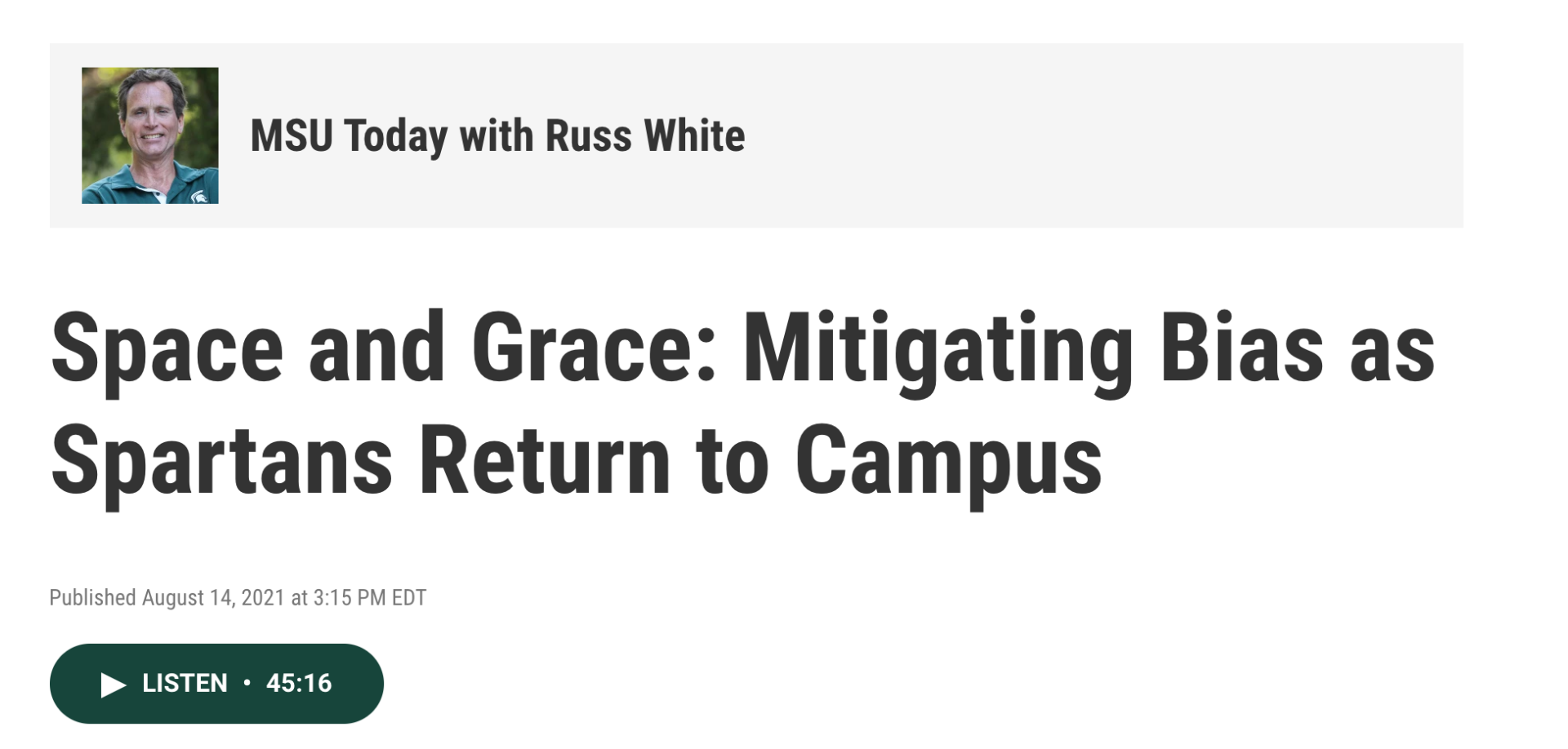Screen shot of the website with the MSU Today with Russ White interview