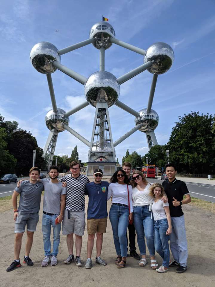 Group of students in front of the Atomium in Brussels, Belgium