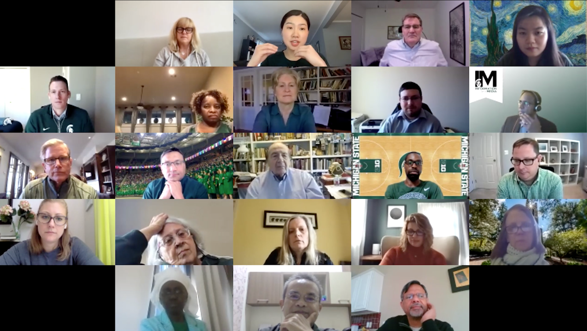 Screen shot participants in day one of the Zoom Global Spartans Virtual Reunion