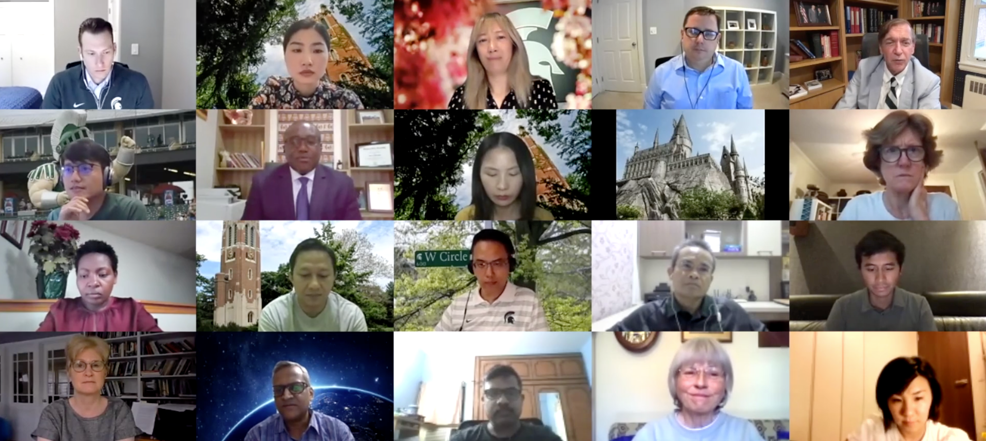 Screen shot of day two of participants in the Zoom Global Spartans Virtual Reunion