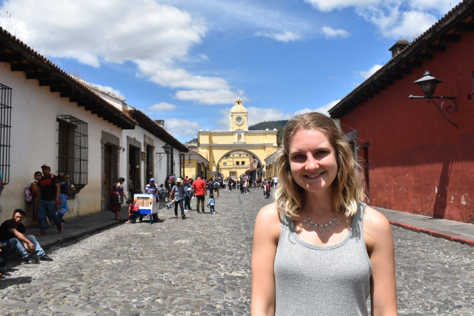 Lina standing in local street in Guatemala