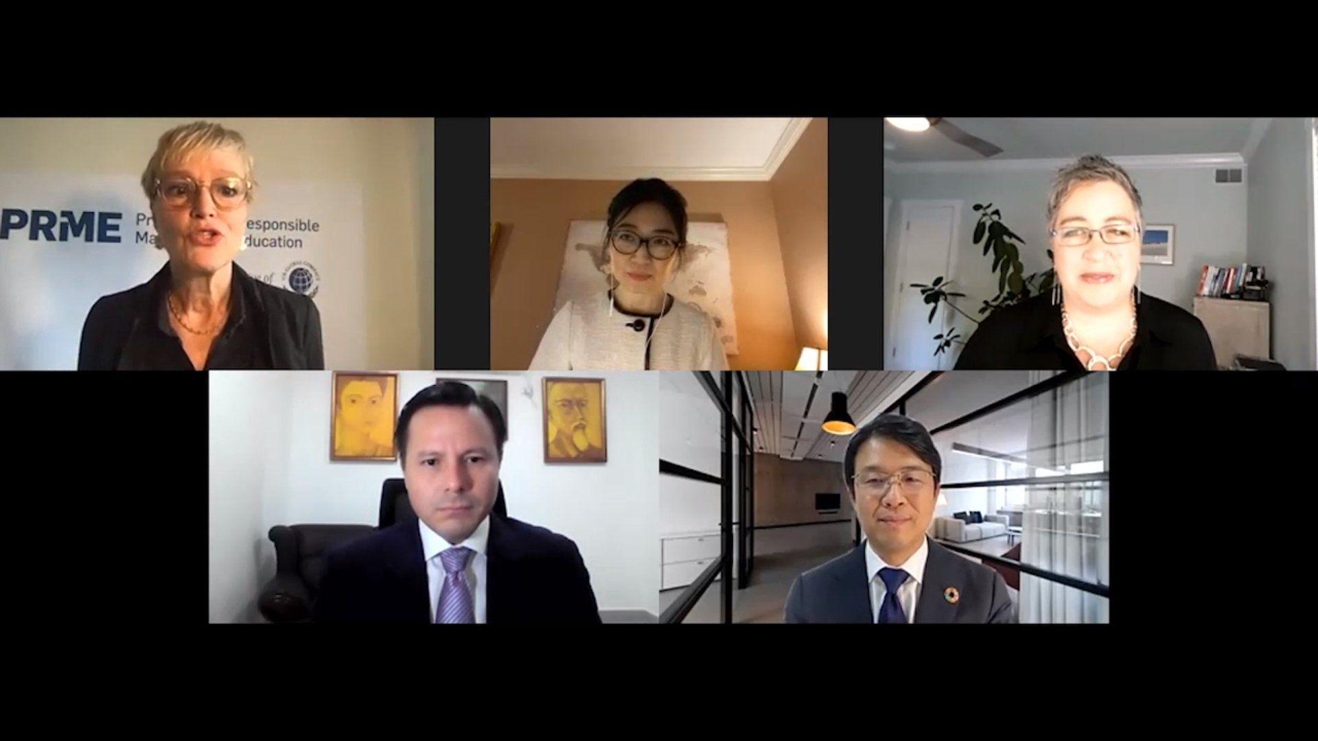 Screenshot of five presenters during virtual presentation at the UN Global Compact Virtual Leader Summit