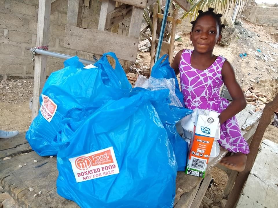 Girl with donated food